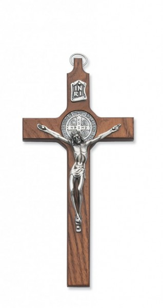 St. Benedict Wall Cross 8 inch Silver Tone Walnut Stained Wood - Brown