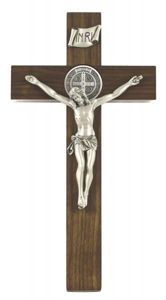 Wall Crucifix with St. Benedict - 12 Inch - Brown | Silver