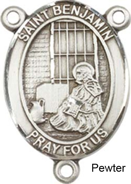 St. Benjamin Rosary Centerpiece Sterling Silver or Pewter - Pewter