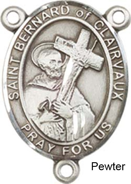 St. Bernard of Clairvaux Rosary Centerpiece Sterling Silver or Pewter - Pewter