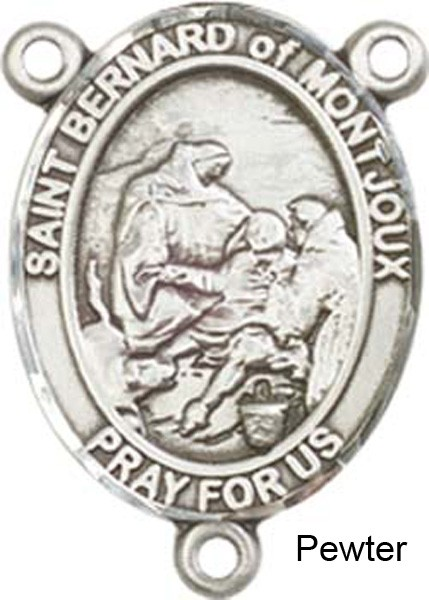 St. Bernard of Montjoux Rosary Centerpiece Sterling Silver or Pewter - Pewter