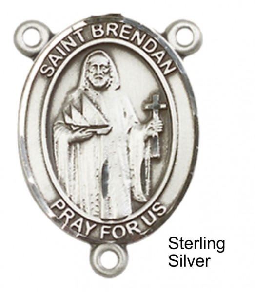 St. Brendan the Navigator PLAIN BACK Rosary centerpiece - Sterling Silver