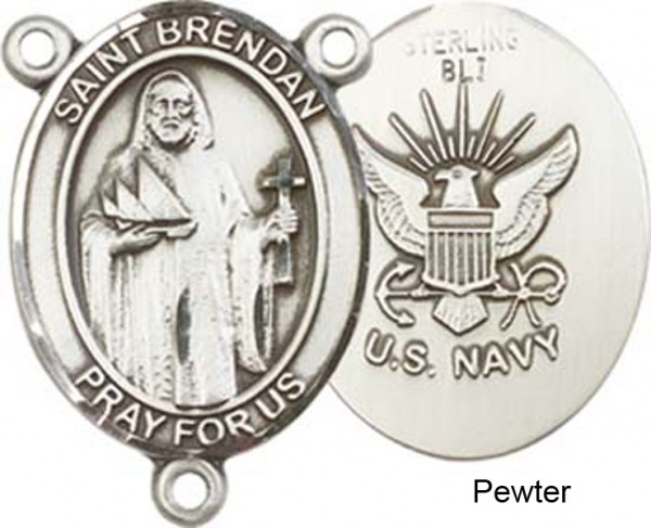 St. Brendan the Navigator NAVY Rosary Centerpiece Sterling Silver or Pewter - Pewter
