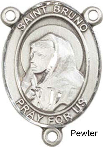 St. Bruno Rosary Centerpiece Sterling Silver or Pewter - Pewter