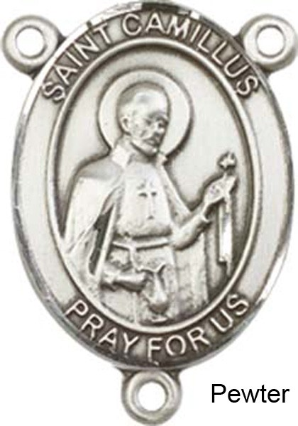 St. Camillus of Lellis Rosary Centerpiece Sterling Silver or Pewter - Pewter