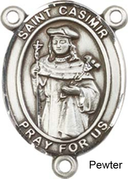 St. Casimir of Poland Rosary Centerpiece Sterling Silver or Pewter - Pewter