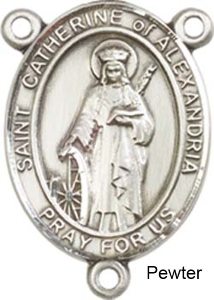 St. Catherine of Alexandria Rosary Centerpiece Sterling Silver or Pewter - Pewter