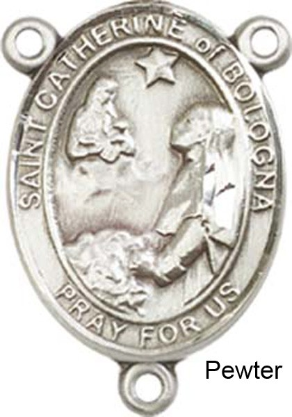 St. Catherine of Bologna Rosary Centerpiece Sterling Silver or Pewter - Pewter
