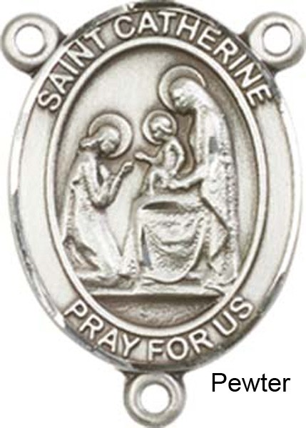 St. Catherine of Siena Rosary Centerpiece Sterling Silver or Pewter - Pewter