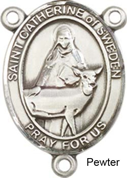 St. Catherine of Sweden Rosary Centerpiece Sterling Silver or Pewter - Pewter