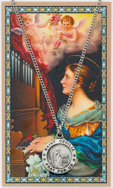 St. Cecilia Medal with Prayer Card - Silver tone