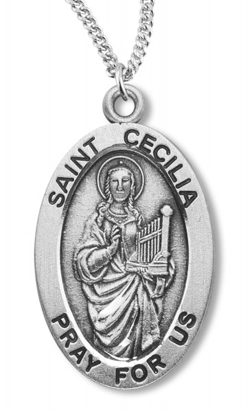 St. Cecilia Medal Sterling Silver - Silver