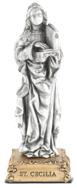Saint Cecilia Pewter Statue 4 Inch - Pewter