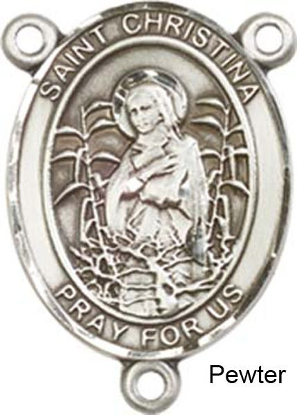 St. Christina the Astonishing Rosary Centerpiece Sterling Silver or Pewter - Pewter