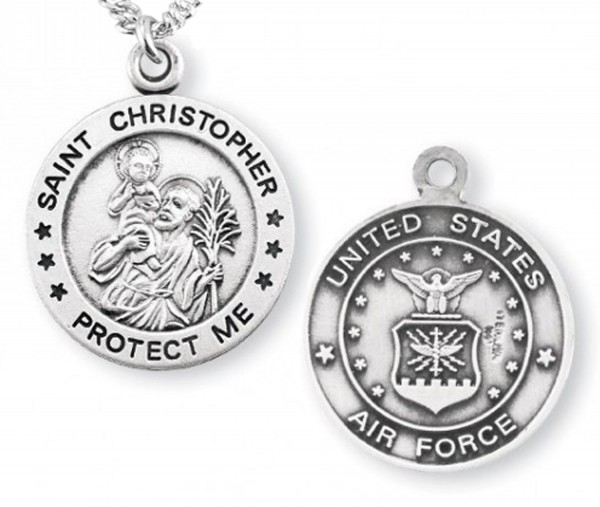 St. Christopher Air Force Medal Sterling Silver - Silver