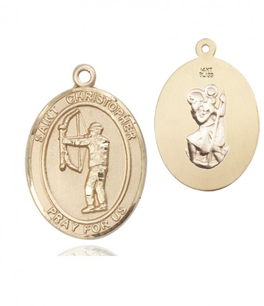 St. Christopher Archery Medal - 14K Solid Gold