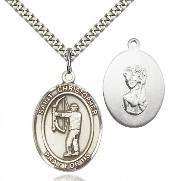 St. Christopher Archery Medal - Sterling Silver