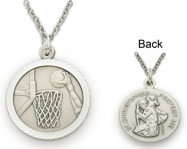 St. Christopher Basketball Sports Medal with Chain - Silver