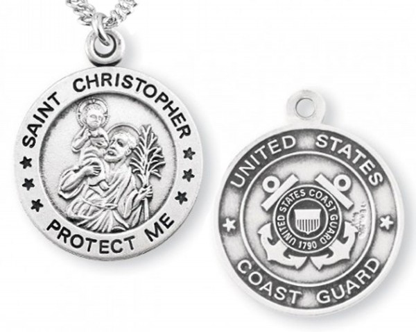 St. Christopher Coast Guard Medal Sterling Silver - Sterling Silver