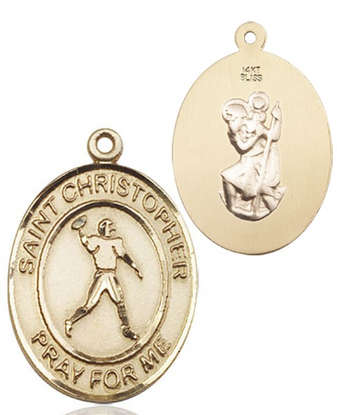 St. Christopher Football Medal - 14K Yellow Gold