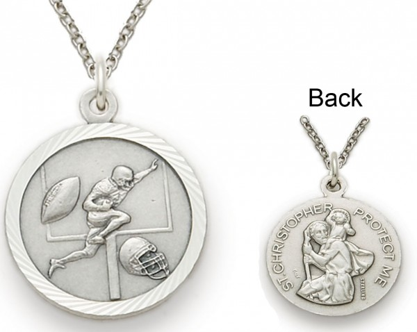 St. Christopher Football Sports Medal with Chain - Silver