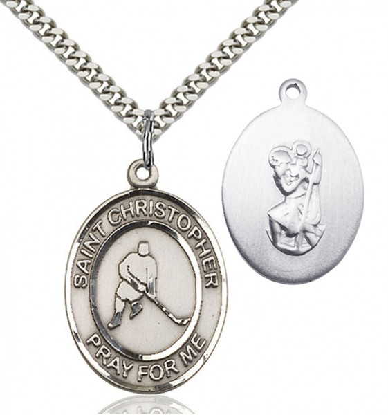 St. Christopher Ice Hockey Medal - Sterling Silver