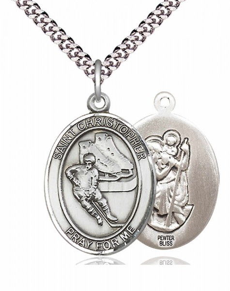 St. Christopher Ice Hockey Medal - Pewter