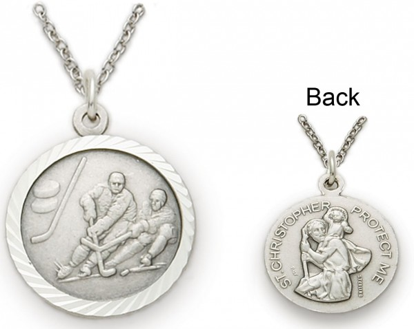 St. Christopher Ice Hockey Sports Medal with Chain - Silver