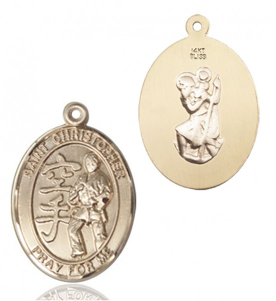 St Christopher Karate Patron Saint Medal - 14K Solid Gold