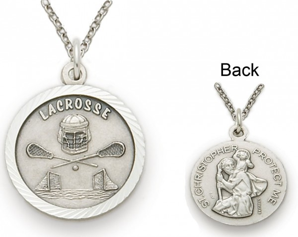 St. Christopher Lacrosse Sports Medal with Chain - Silver