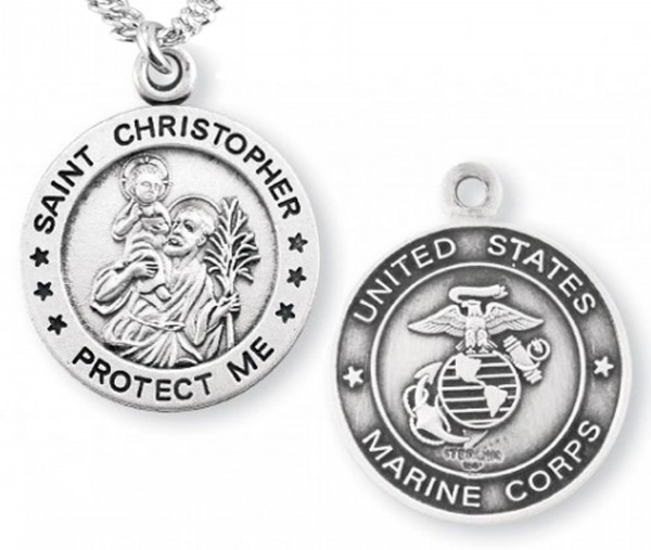 St. Christopher Marine Medal Sterling Silver - Silver