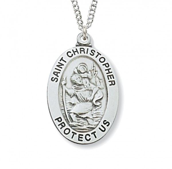 Boys Wide Oval St. Christopher Medal Sterling Silver - 1 1/16 inch - Silver