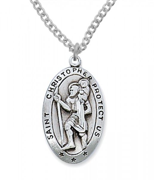 Men's St. Christopher Medal Sterling Silver - 1 1/8 inch - Silver