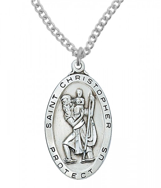 Men's Large Oblong St. Christopher Medal Sterling Silver - 1.5 Inches - Silver