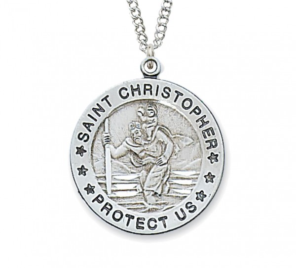 St. Christopher Medal Sterling Silver - 1 inch - Silver