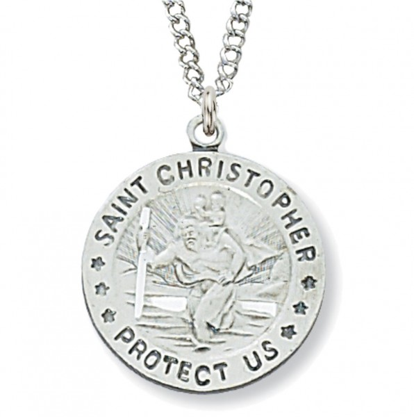Women's Round St. Christopher Medal Sterling Silver - Silver