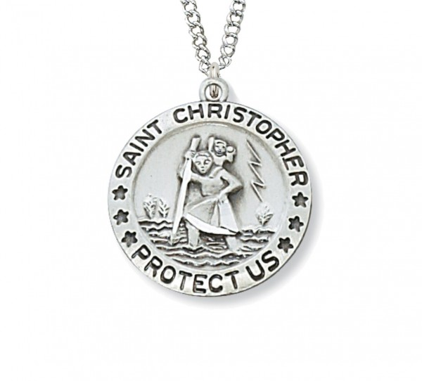 Small Women's St. Christopher Medal Sterling Silver  - Silver