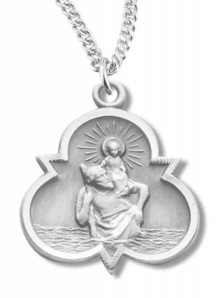 Clover Shaped Women's St. Christopher Necklace - Silver