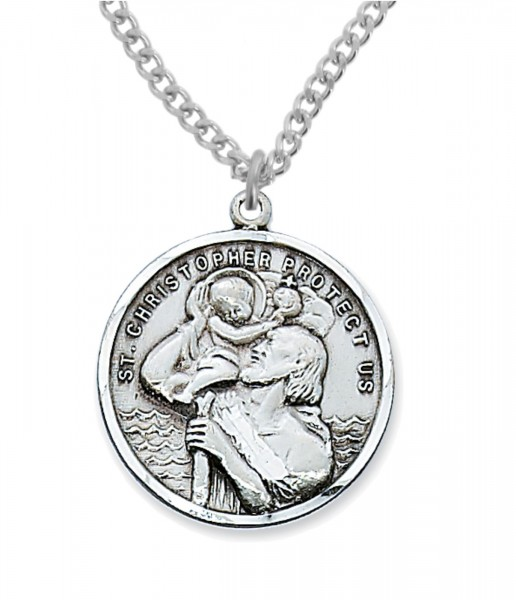 Men's Round St. Christopher Medal Sterling Silver - Silver