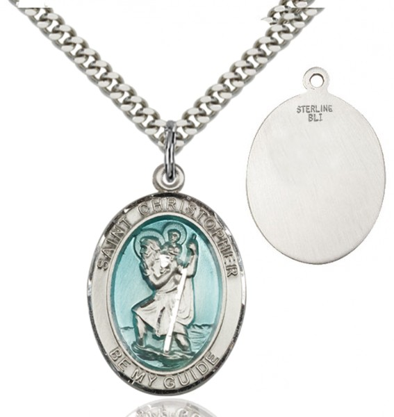 St. Christopher Medal with Blue Inset - Silver | Blue