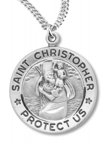 Traditional Round St. Christopher Necklace - Silver