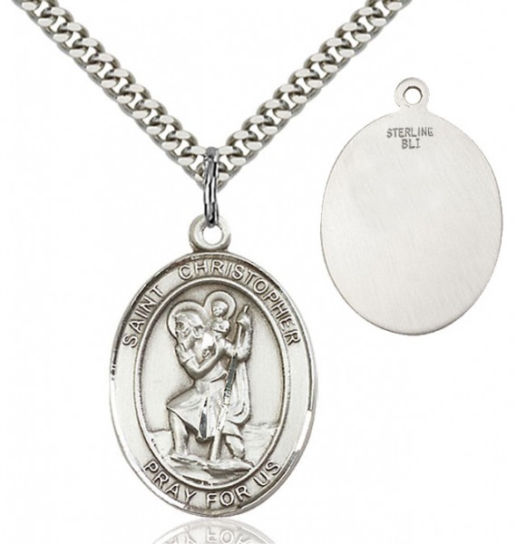 St. Christopher Oval Medal - Sterling Silver