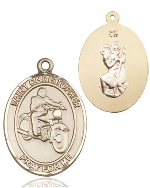 St. Christopher Motorcycle Medal - 14K Yellow Gold