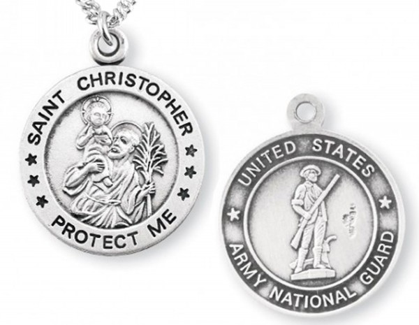 St. Christopher National Guard Medal Sterling Silver - Silver