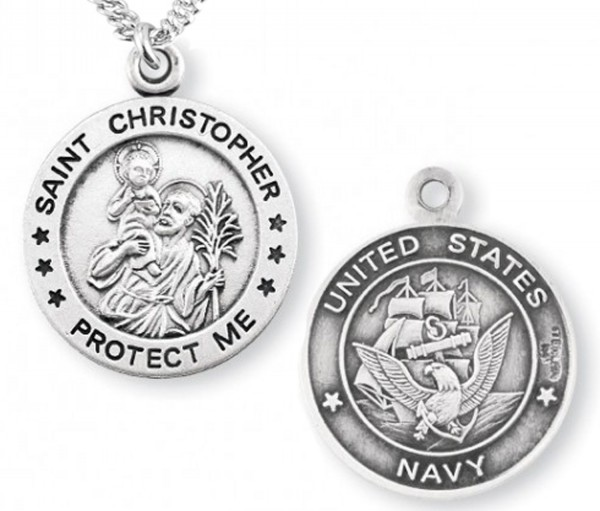 St. Christopher Navy Medal Sterling Silver - Sterling Silver