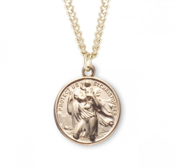 St. Christopher and St. Raphael Necklace Round Sterling Silver - Gold Plated
