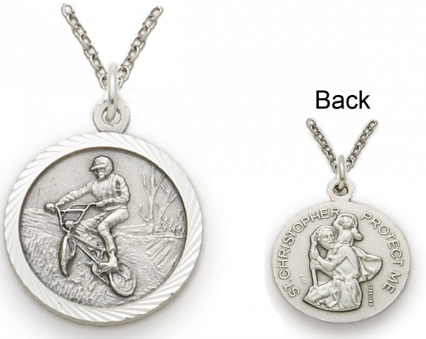 St. Christopher Off Road Bike Sports Medal with Chain - Silver