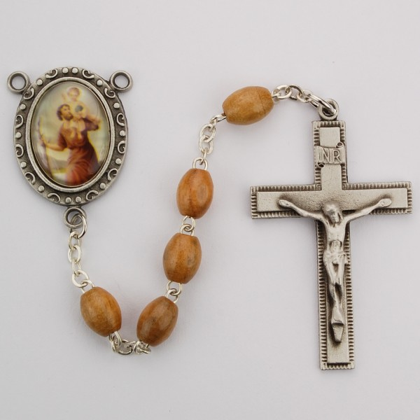 St. Christopher Olive Wood Rosary - Brown