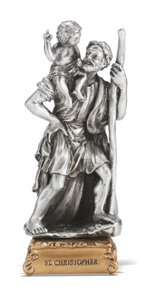Saint Christopher Pewter Statue 4 Inch - Pewter