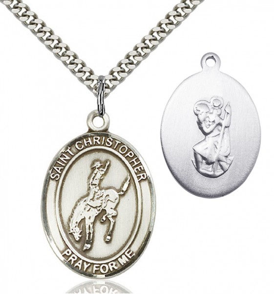 St. Christopher Rodeo Medal - Sterling Silver